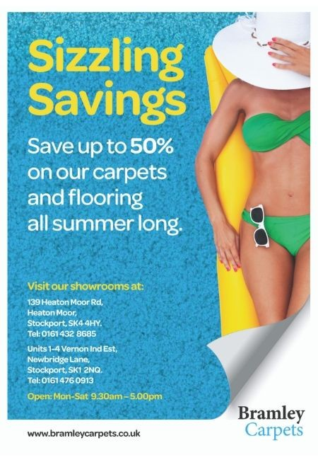 sizzling savings on carpets and flooring all summer at Bramley Carpets in Stockport